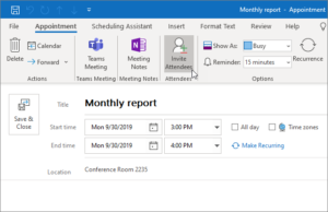 Scheduling Events In Outlook