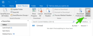 Turning Outlook Back To Online Mode